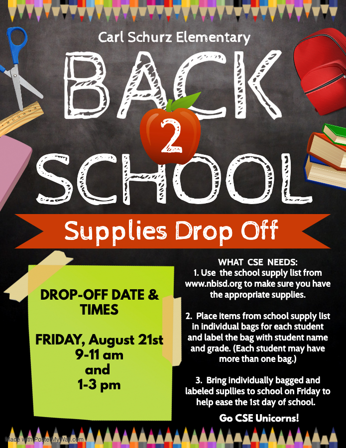 CSE Back to School Supplies drop off on Friday August 21 from 9-11 and 1-3